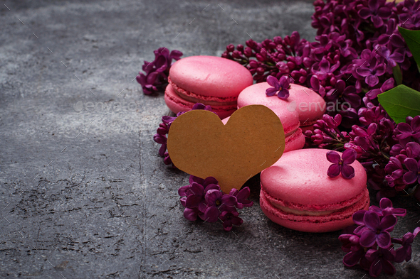 Festive background with  macaroons and lilac - Stock Photo - Images