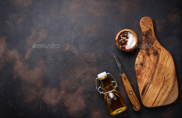 Wooden cutting board and knife - Stock Photo - Images