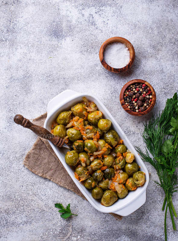 Baked brussels sprouts with carrot - Stock Photo - Images