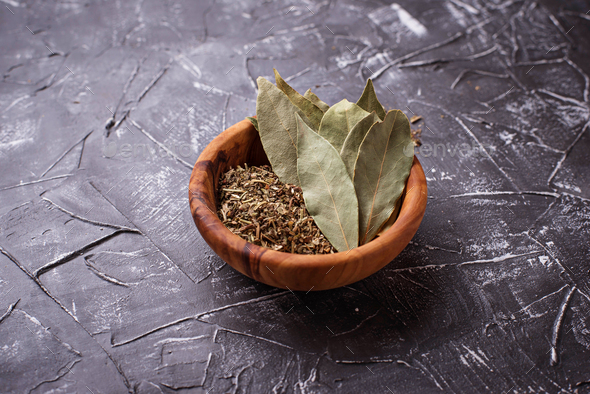 Fresh, ground and dried bay leaf - Stock Photo - Images