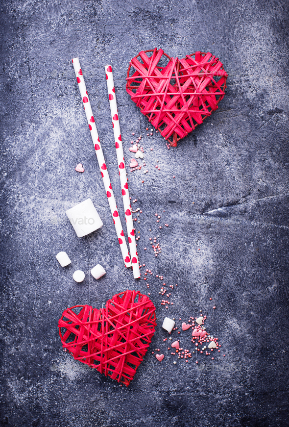 Valentine's Day background with hearts and sweets - Stock Photo - Images