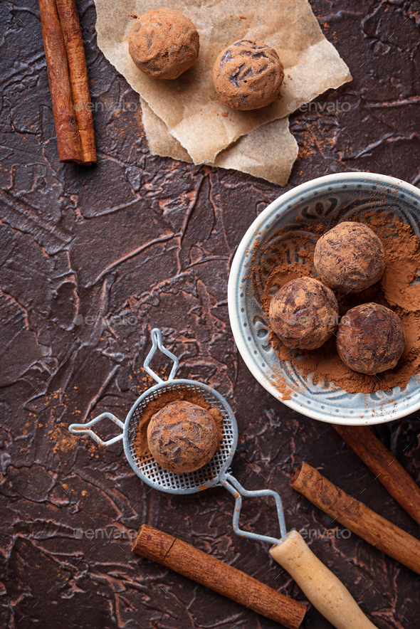 Candy truffles with cocoa powder - Stock Photo - Images