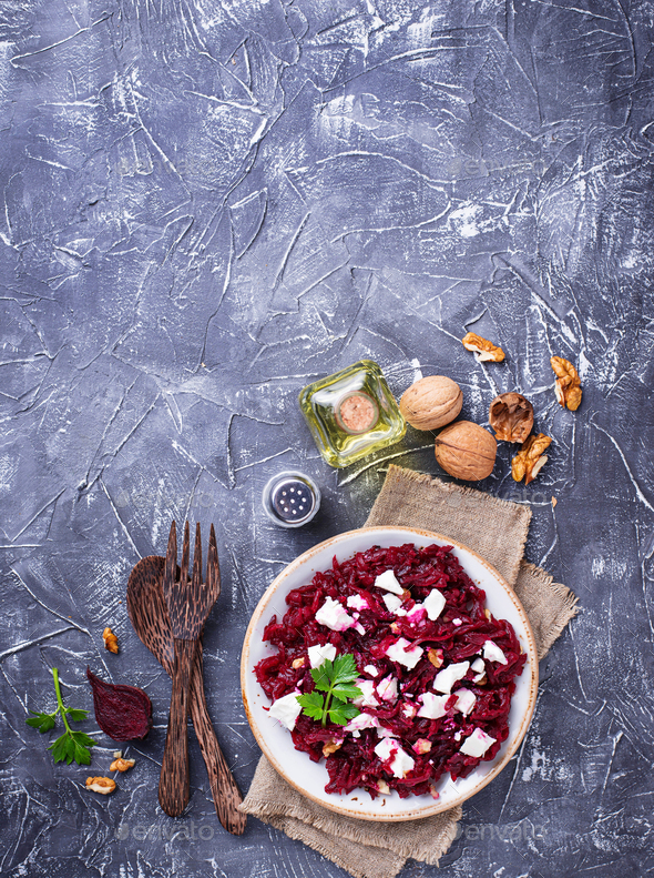 Healthy beetroot salad with feta and walnuts - Stock Photo - Images