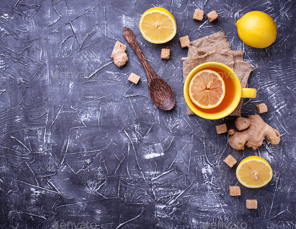Hot tea with lemon and ginger - Stock Photo - Images