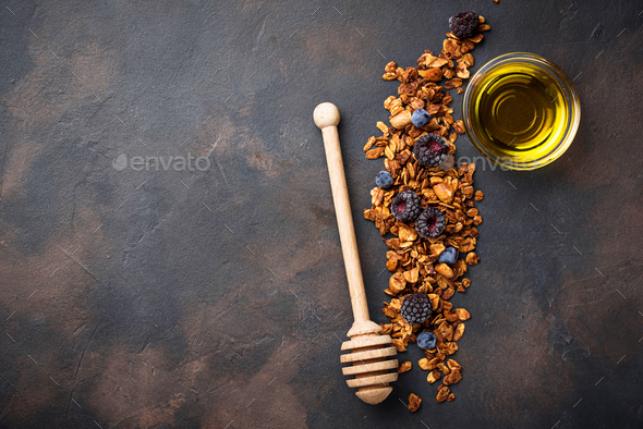 Healthy homemade granola with honey - Stock Photo - Images