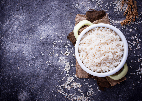 White boiled rice on pot - Stock Photo - Images