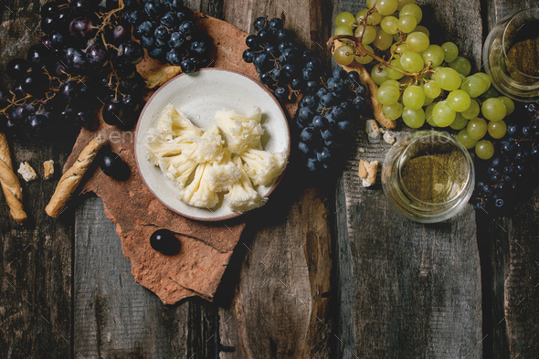Cheese, grapes and wine - Stock Photo - Images