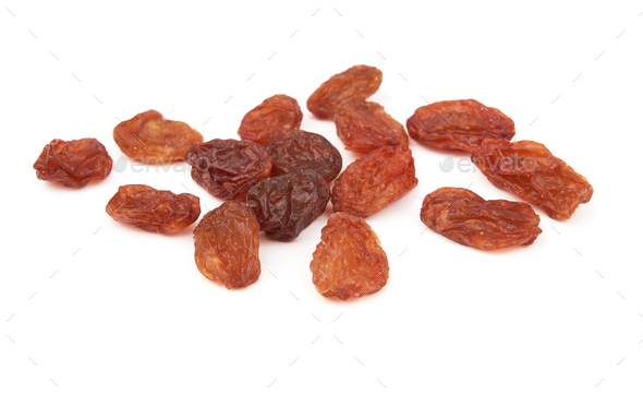Dried raisins isolated on a white background - Stock Photo - Images