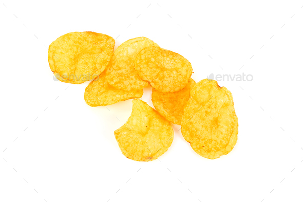 Potato chips isolated a on white background - Stock Photo - Images