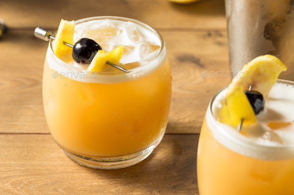 Sweet Homemade Whiskey Amarreto Sour - Stock Photo - Images