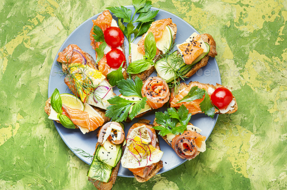 Open sandwich with salmon - Stock Photo - Images