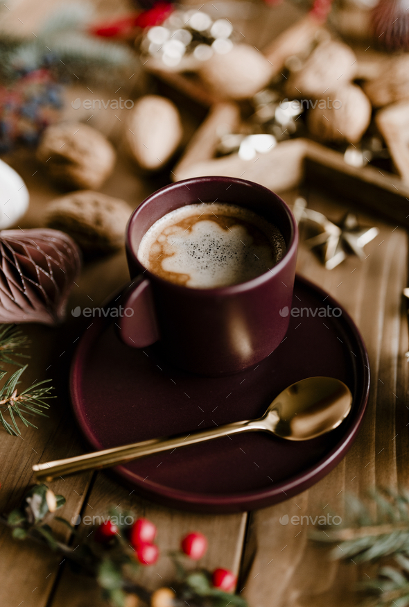 Christmas hot chocolate and walnut - Stock Photo - Images
