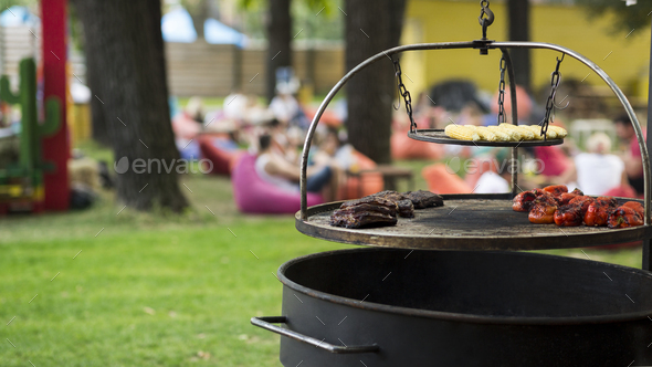 Food to go. Grilled vegetables, meat and corn over park - Stock Photo - Images