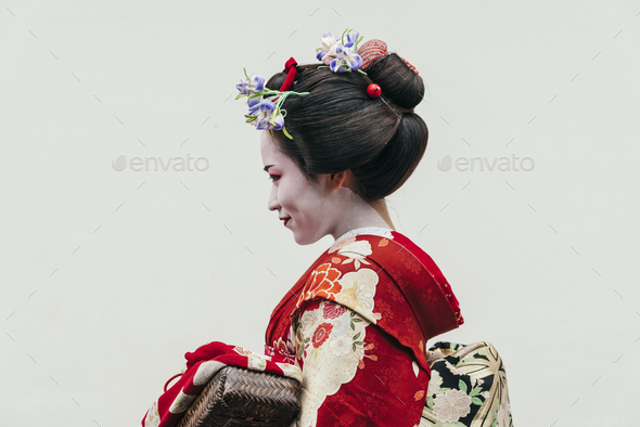 Portrait of  a Maiko geisha in Gion Kyoto - Stock Photo - Images