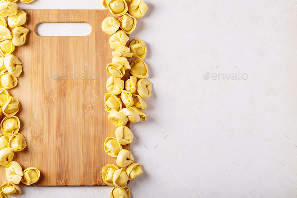 Raw traditional Itallian ravioli - Stock Photo - Images