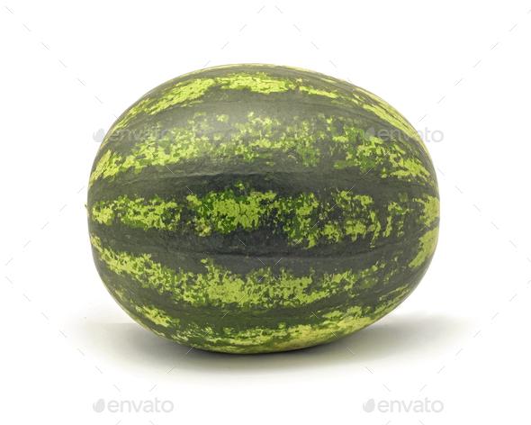 Whole watermelon on white background - Stock Photo - Images
