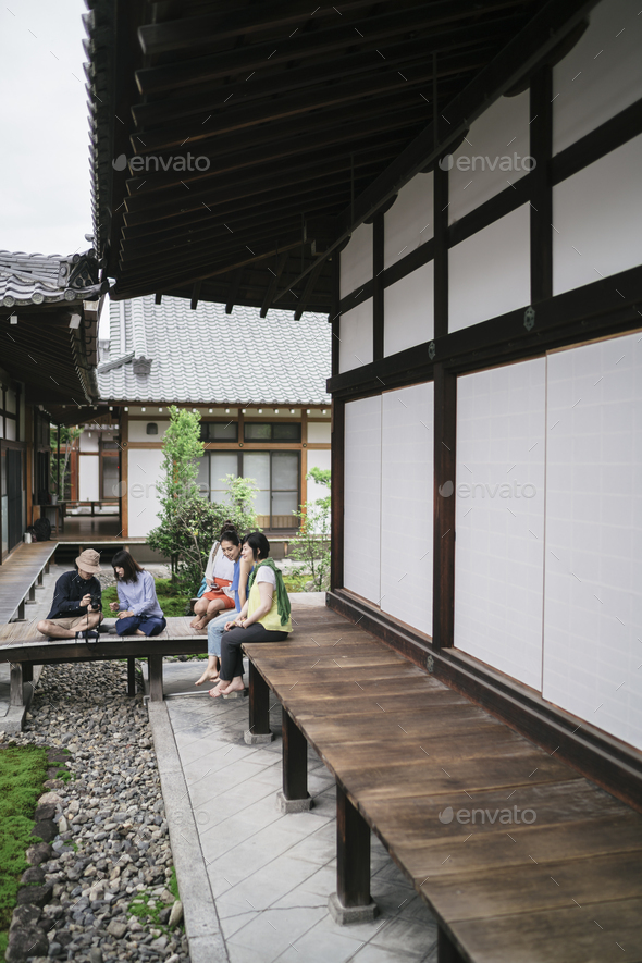 Group of japanese friends visiting Kyoto - Stock Photo - Images