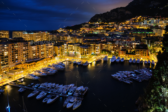 View of Monaco in the night - Stock Photo - Images