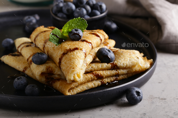Thin Pancakes with Blueberries - Stock Photo - Images