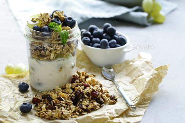 Homemade Granola with Yogurt - Stock Photo - Images