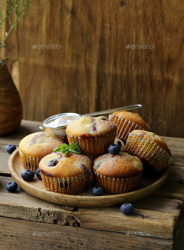 Homemade Blueberry Muffins - Stock Photo - Images