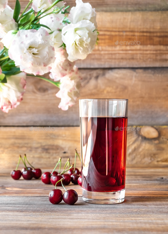 Glass of cherry juice - Stock Photo - Images