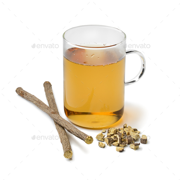 Licorice tea and a heap of roots - Stock Photo - Images