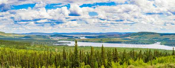 Labrador City Wabush mining towns pano NL Canada - Stock Photo - Images
