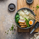 Delicious ramen soup with pork, egg and bok choy, copy space - PhotoDune Item for Sale