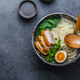 Ramen bowl with pork, pak choi and egg, copy space - PhotoDune Item for Sale