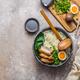Ramen bowl with pork, pak choi and egg, flat lay - PhotoDune Item for Sale