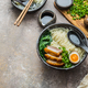 Japanese ramen soup with egg, pork and onion, copy space - PhotoDune Item for Sale