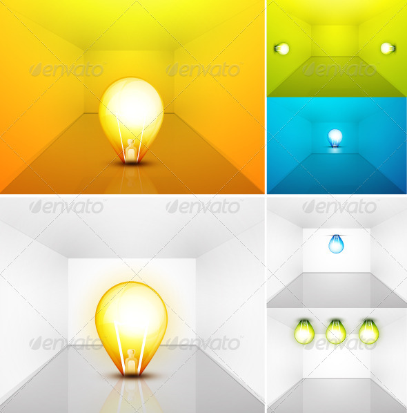 Vector set of light bulbs in room. Perspective vie - Man-made Objects Objects