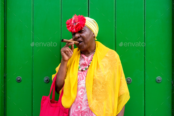Woman with cuban cigar - Stock Photo - Images