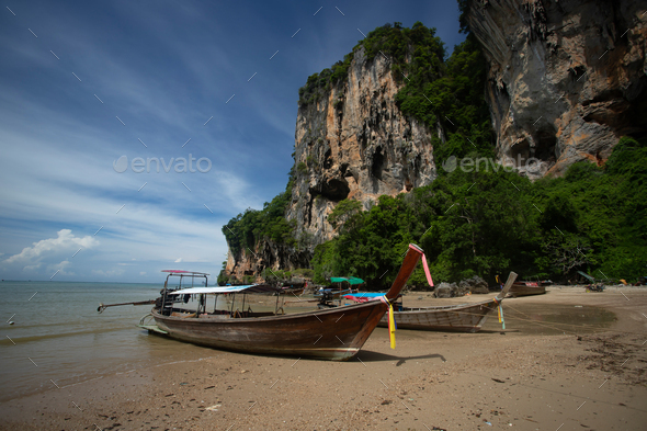 Traditional longtail boat on Tonsai beach, Thailand. - Stock Photo - Images