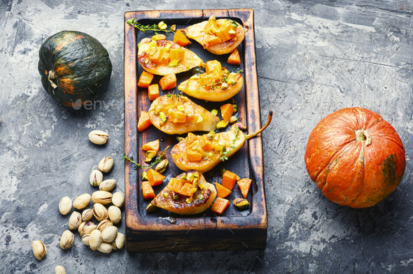 Ripe baked pear with pumpkin - Stock Photo - Images