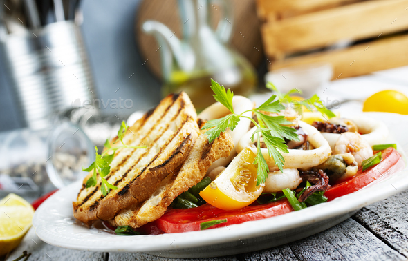salad with seafood - Stock Photo - Images