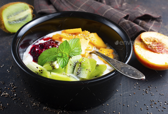 oat flakes with fruit - Stock Photo - Images