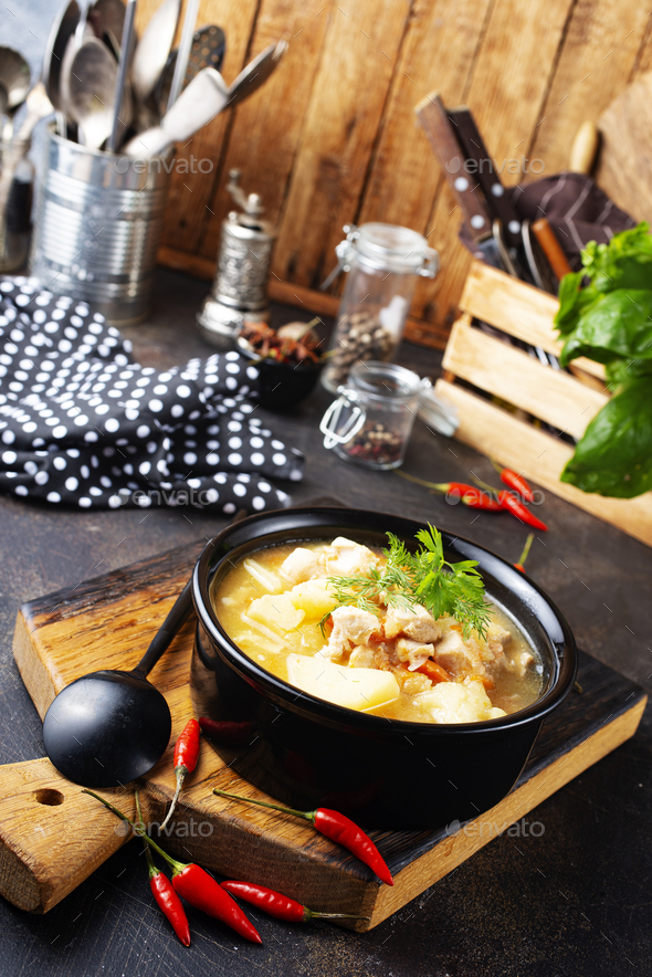 chicken soup - Stock Photo - Images