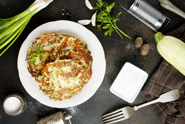 zucchini pancakes - Stock Photo - Images