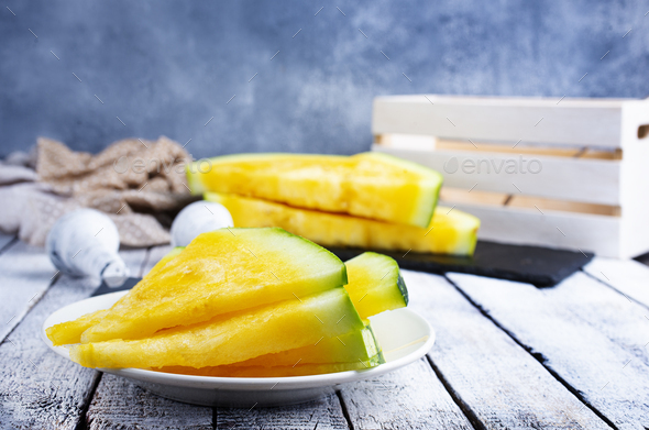 yellow watermelon - Stock Photo - Images