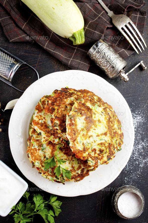 zucchini pancakes - Stock Photo - Images