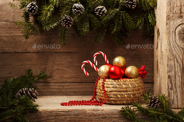 Red festive Christmas decorations - Stock Photo - Images