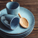 Handmade blue set of ceramic tableware. Espresso cups and plates. - PhotoDune Item for Sale