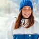 portrait of a teenage girl in blue winter sports suit on a backg - PhotoDune Item for Sale