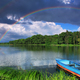 Rainbow over the lake with a boat - PhotoDune Item for Sale