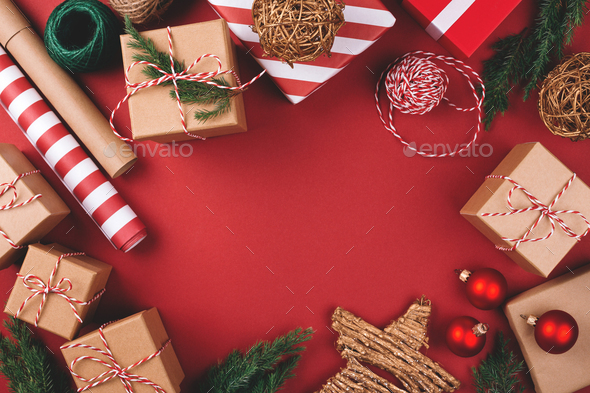 Red Background with Christmas Gifts and Decorations. - Stock Photo - Images