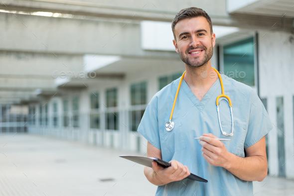 male nurse with stethoscope - Stock Photo - Images