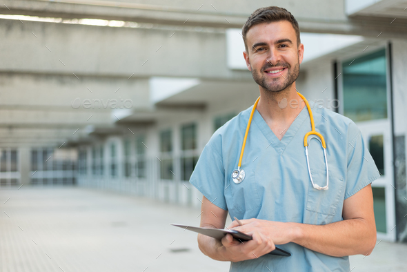 male nurse with stethoscope - Stock Photo - Images