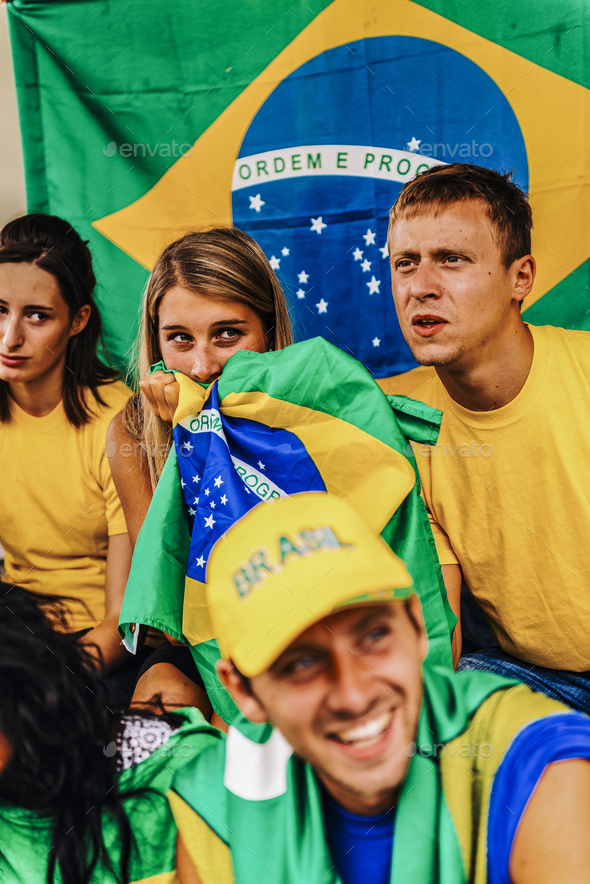 Supporters from Brazil at Stadium - Stock Photo - Images